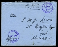 Lot 4173:1943 use of stampless OAS envelope, cancelled with 'RAFPOST/5*5/INDIA' (A1-) in purple, to Bombay, with 'UNIT CENSOR/W59/INDIA' (A1) in purple, backstamped with boxed '[CARELESS] TALKS/[COST] LIVES/DE