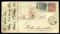 Lot 3731 [1 of 2]:1868 use of 40c rose & 20c blue, cancelled with poor grid '181' & 'MILANO STAZ/3/MAR/68/8 2' (B1), on cover to London, with straight-line 'P.D.' (B1) & 'LONDON/N/PAID/C/6MR68' (A1) in red, backstamped with 'WOLVERHAMPTON/B/MR7/69' (A1) arrival, some creasing.