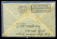 Lot 4025 [2 of 2]:1941: use of stampless airmail envelope, cancelled with poor double-circle 'XE UFFICIO POSTE DE CON