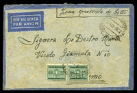 Lot 4025 [1 of 2]:1941: use of stampless airmail envelope, cancelled with poor double-circle 'XE UFFICIO POSTE DE CON
