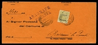 Lot 4242:1943 use of AMG 25c olive-bistre, cancelled with double-circle 'CATANIA FERROVIA/12.11.43 5/??TRANSITO' (B2), on official communication.