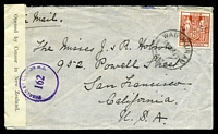 Lot 25897:1941 use of 4/- red arms, cancelled with 'WAIPUKURAU/19NO41 9/NZ' (B1), on plain cover to San Francisco, California, by air, sealed at left with 'Opened by Censor in New Zealand.' tape & bearing 'PASSED BY CENSOR N.Z./162' (B1) in purple, some mild creasing.