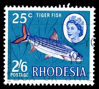 Lot 4518:1967-68 Dual Currency SG #412 2/6d/25c tiger fish, Cat £35.