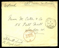 "Lot 4357:1901: use of stampless cover endorsed ""Active Service. No Stamps"", cancelled with double-circle 'ARMY POST OFFICE/B/DE28/01/KROONSTAD' (A1-), from a Lieutenant in The Royal Scots to London with 'LONDON, E.C/PAID/JA18 02/6' (A1)."