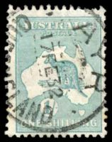 Lot 1022:1/- Emerald - BW #34 Cat $25, cancelled with 'AYR/17FE32/QU[EENS]