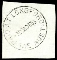 Lot 2293:Longford: - 'PAID AT LONGFORD/3D■8DE53/TAS-AUST'. [Rated 3R]  Renamed from Norfolk Plains PO 1/2/1856.