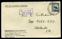 Lot 5300:1944 use of 5½d Emu, cancelled with 'ALICE SPRINGS/3P24NO44