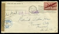 Lot 27848:1945 use of US 15c brownish red air, cancelled with 'PAGO PAGO/JUL3/4PM/1945/SAMOA' (A1) machine, on plain cover to Kansas City, Missouri, by airmail, sealed at left with plain brown tape & circular 'PASSED/BY CENSOR/American/Samoa' (A1) in blue.