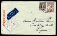 Lot 4626:1943 use of 2/- maroon Roo & 1d purple-brown QE, cancelled with light 'LEETON/215P1SE43/N.S.W.' (C2), on plain cover by airmail to Tumbridge Wells, England, with '2/OPENED BY CENSOR' label in red on white & diamond '2/PASSED/BY/CENS