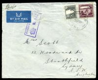 Lot 898:Army P.O. 'ARMY P.O./2NO40/A.W.1.', (Beit Jirja, Palestine) on Palestinian 50m purple & 10m grey on airmail cover to Strathfield, NSW, with boxed 'PASSED BY CENSOR/[crown]/No.647', some repaired closed tears at top from opening. [Rated 150 by Proud]