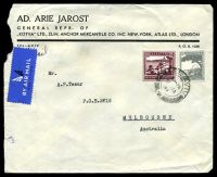 Lot 27086:1941 use of 50m purple & 10m grey, cancelled with double-circle 'TEL AVIV/2PM/9JA/41/+' (A1), on Ad. Arie Jarost cover by air to Melbourne, Vic, slight tearing to left edge.