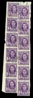 Lot 584:1944-51 2d Purple KGVI No Wmk BW #229bc 2 coil strips of 6 on piece, Cat $120+, top left pair shows coil join, very lightly cancelled 11DE51, small closed tear affecting 3rd unit of left strip.