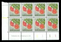 Lot 26454:1960-66 Definitives SG #789 8d Rata, BLC block of 8 with DLR imprint & plate numbers '1111', right column shows very light near vertical red streaks