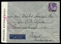 Lot 26099:1940 use of 35c purple, cancelled with double-circle 'PROBOLINGGO/281040 12/+X+' (B1), on airmail envelope to Basel, Switzerland, sealed at left with 'DOOR CENSUUR GEOPEND' tape & bearing straight-line 'GEOCENSUURD/36' (A1) in red.