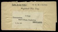 Lot 3789 [1 of 2]:1910 use of 3p grey-blue KGV 'SERVICE' opt pair, cancelled with poor Army Headquarters double circle of DEC1910, on India Army Order OHMS wrapper addressed to 'Commandant,/Staff College, Camberley,/ENGLAND'.