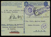 Lot 3841:1942 use of Forces Postcard, cancelled with double-circle 'POSTA MILITARE/?3.10.42 XX?/NO9900