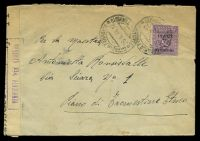 Lot 3843:1944 use of 50c purple AMP, cancelled with double-circle 'CATANIA FERROVIA/26.4.44.12/ESPRESSI TRANSITO' (B1), on cover to Etmeo, with boxed 'VERIFICATO PER CENSURA' (A1-) in purple & sealed with 'VERIFICATO PER CENSURA' tape at left, with dotted circle '9' (A1), letter included, some light rust.