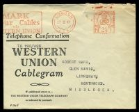 Lot 23356:1941 use of 'LONDON/27II41/E.C.2 - GREAT BRITAIN/POST PAID/N 2½D 1' (A1) meter in red, on Western Union cablegram envelope, cablegram form included, octagonal 'PASSED/BY/CENSOR/[crown]/No./2374' (A1-) in purple on face, small closed tear and some creasing to top edge.
