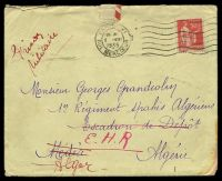 "Lot 21949 [1 of 2]:1935 use of 50c pink, cancelled with 'PARIS XI/1530/2VIII/1935/RUE MERCOEUR' (A1) machine, on cover endorsed ""Prison/Militaire"" to a member of 1st Algerian Spahis Regt, letter included, some staining at BRC."