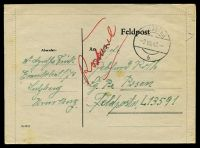 Lot 22625:1943 use of stampless Feldpost lettersheet, cancelled with 'SULZBERG/2VIII43/b' (A1-), to Feldpost L-13591 Air Field Command 13/VI, couple of rust marks.
