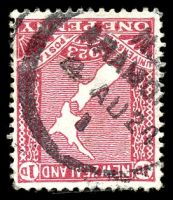 Lot 26635:Aramoho: type A 'N.[Z]/ARAMO[HO]/4AU24/I', on 1d red map, small closed tear. [Rated 3]  PO 12/7/1892; closed 27/3/1992.
