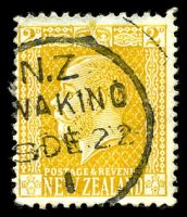 Lot 26639:Awakino: type A 'N.Z/[A]WAKINO/[?]9DE22/I' on 2d orange-yellow KGV  PO 1/10/1889; closed c.1988.