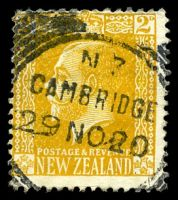 Lot 4247:Cambridge: squared-circle 'N.Z/CAMBRIDGE/29NO20' on 2d orange-yellow KGV, light vertical crease.  PO 8/9/1864.