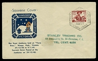 Lot 4625:1948 Scout Jamboree Yarra Brae light hexagonal 'PAN-PACIFIC SCOUT JAMBOREE./VIC/29DEC48/AUST/YARRA-BRAE' (A1-) cancelling 2½d red-brown on Bodin illustrated souvenir cover, handstamped address, assorted hinge marks on reverse & some discolouration to face.
