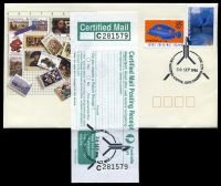 Lot 5465:Canberra (3): - '[flag tower]/30SEP1996/THE NATIONAL CAPITAL. G.P.O. CANBERRA A.C.T. 2601' cancelling AAT $1 Ice Cave & Cocos 85c Wrasse on Australia Post souvenir cover with complete Certified Mail Posting Receipt label 'PM120/Oct'91' affixed to front, unaddressed.  PO 12/4/1983.