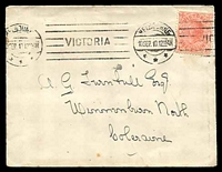 Lot 4215:1910 use of Vic 1d pink, cancelled with 'MELBOU