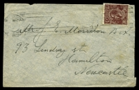 Lot 792:1919 use of 1½d deep red-brown KGV, cancelled with light Sydney machine of 1919, on cover to Hamilton, couple of toned areas & reduced at right.