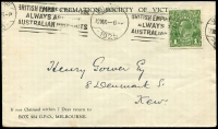 Lot 5028:1925 use of 1d green, cancelled with Melbourne machine of 12MR 1925, on Cremation Society of Victoria cover to Kew, backflap missing, slightly reduced at top.