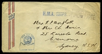 Lot 596:1940s use of stampless airmail cover bearing light straight-line 'PASSED FREE/OF POSTAGE' (B1) in purple with 'H.M.A. SHIPS' (A1) in blue & tombstone 'FROM H·M·SHIP/[logo]/PASSED BY CENSOR/SIGNATURE·DATE' (B1) also in blue, some mild creasing & toned at either end.