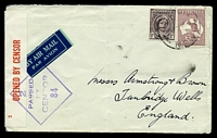 Lot 597:1943 use of 2/- maroon Roo & 1d purple-brown QE, cancelled with light 'LEETON/215P1SE43/N.S.W.' (C2), on plain cover by airmail to Tumbridge Wells, England, with '2/OPENED BY CENSOR' label in red on white & diamond '2/PASSED/BY/CENS
