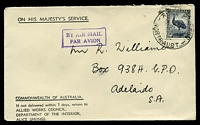 Lot 1120:1944 use of 5½d Emu, cancelled with 'ALICE SPRINGS/3P24NO44