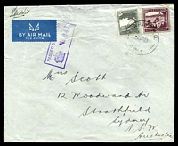 Lot 5102:Army P.O. 'ARMY P.O./2NO40/A.W.1.', (Beit Jirja, Palestine) on Palestinian 50m purple & 10m grey on airmail cover to Strathfield, NSW, with boxed 'PASSED BY CENSOR/[crown]/No.647', some repaired closed tears at top from opening. [Rated 150 by Proud]