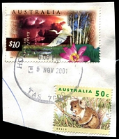 Lot 3507:1996-2001 Nature of Australia Definitives $10 Kakadu & 50c koala, cancelled with 'HOBART BATHURST ST