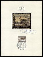 Lot 19942:1961 Court of Accounts 1s violet brown, cancelled with Vienna Pictorial cancel & octagonal 'Ersttag' handstamp on almost A4 sized card featuring oversized unadopted design with autograph attributed to H. Ranzoni, Designer & Engraver.