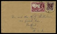 Lot 3306:1940 use of 2a6p red & 1a red-brown KGVI, cancelled with double-circle 'MOULMEIN/9DEC40/5P.M./+' (A2-), on plain cover to Hartford, Connecticut, with light triangular 'PASSED/BY/CENSOR/10/RANGOON' (B1).