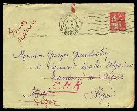 "Lot 18767 [1 of 2]:1935: use of 50c pink, cancelled with 'PARIS XI/1530/2VIII/1935/RUE MERCOEUR' (A1) machine, on cover endorsed ""Prison/Militaire"" to a member of 1st Algerian Spahis Regt, letter included, some staining at BRC."