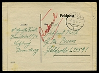 Lot 19713:1943 use of stampless Feldpost lettersheet, cancelled with 'SULZBERG/2VIII43/b' (A1-), to Feldpost L-13591 Air Field Command 13/VI, couple of rust marks.