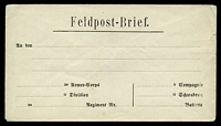 Lot 3494:1918 unused 'Feldpost-Brief' envelope with formular addressing on front, couple of tone spots on reverse.