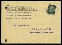 Lot 3492:1940 use of 6pf green, cancelled with double-circle 'TROPPAU/02.9.40-23/' (A2), on Ferdinand Travnitschek business postcard to Munich, filing holes.