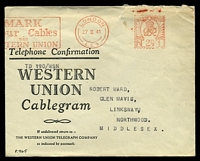 Lot 22496:1941 use of 'LONDON/27II41/E.C.2 - GREAT BRITAIN/POST PAID/N 2½D 1' (A1) meter in red, on Western Union cablegram envelope, cablegram form included, octagonal 'PASSED/BY/CENSOR/[crown]/No./2374' (A1-) in purple on face, small closed tear and some creasing to top edge.
