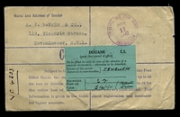 "Lot 3596 [2 of 2]:1942 use of 5½d brown KGVI registration envelope uprated with 2/6d green, 10d blue & 2½d blue KGVI, cancelled with poor London of 26NOV42, to Los Angeles, with Board of Trade wax seal & boxed 'AUTHORISED FOR EXPORT/[signature]/An Assistant Secretary of/the Board of Trade/""26.11.42""' (A1) in blue, also bears blue 'LONDON, F.S.' registration label, light straight-line 'Non Letter Postage/COLLECT 10 CENTS/Customs clearance./Postage-due st"