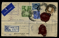 "Lot 3596 [1 of 2]:1942 use of 5½d brown KGVI registration envelope uprated with 2/6d green, 10d blue & 2½d blue KGVI, cancelled with poor London of 26NOV42, to Los Angeles, with Board of Trade wax seal & boxed 'AUTHORISED FOR EXPORT/[signature]/An Assistant Secretary of/the Board of Trade/""26.11.42""' (A1) in blue, also bears blue 'LONDON, F.S.' registration label, light straight-line 'Non Letter Postage/COLLECT 10 CENTS/Customs clearance./Postage-due st"