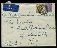 Lot 3825 [1 of 2]:1943: use of 1/- brown & 3d purple KGVI, cancelled with double-circle 'NORTHWOOD