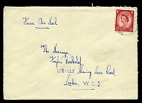 "Lot 3582 [1 of 2]:1957 use of 2½d red QEII, cancelled with double-circle 'FIELD POST OFFICE/R/25MR/57/296' (C2), on plain cover endorsed ""Forces Air Mail"" to London, backstamped with boxed 'GENERAL STAFF BRANCH/25MAR1957/U.H.Q."
