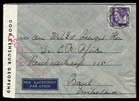 Lot 25325:1940 use of 35c purple, cancelled with double-circle 'PROBOLINGGO/281040 12/+X+' (B1), on airmail envelope to Basel, Switzerland, sealed at left with 'DOOR CENSUUR GEOPEND' tape & bearing straight-line 'GEOCENSUURD/36' (A1) in red.