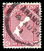 Lot 25921:Aramoho: type A 'N.[Z]/ARAMO[HO]/4AU24/I', on 1d red map, small closed tear. [Rated 3]  PO 12/7/1892; closed 27/3/1992.